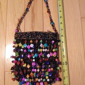 LA VIOLA Black Satin Beaded handbag